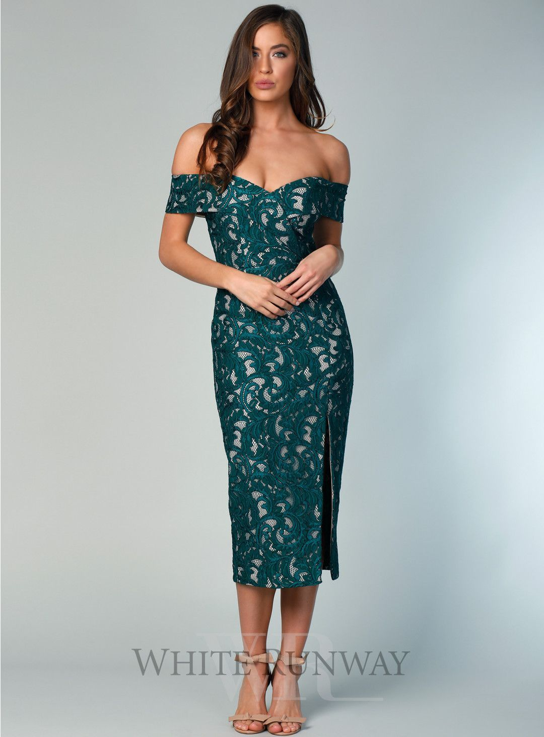 a47764efa577 Gia Lace Cocktail Dress. A beautiful midi by Samantha Rose. A lace off  shoulder style featuring crossover detailing on the bust and a side split  in the ...