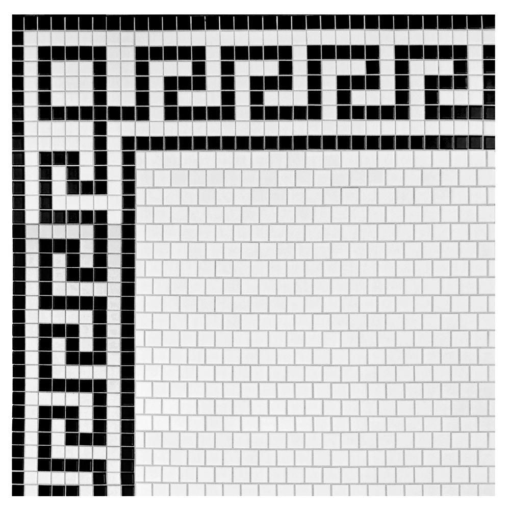 Merola Tile Metro Greek Key Matte White And Black Border