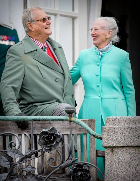 Queen Margrethe and Prince Henrik k attend the 77th birthday celebrations of Danish Queen at Marselisborg Palace on April 16 2017.