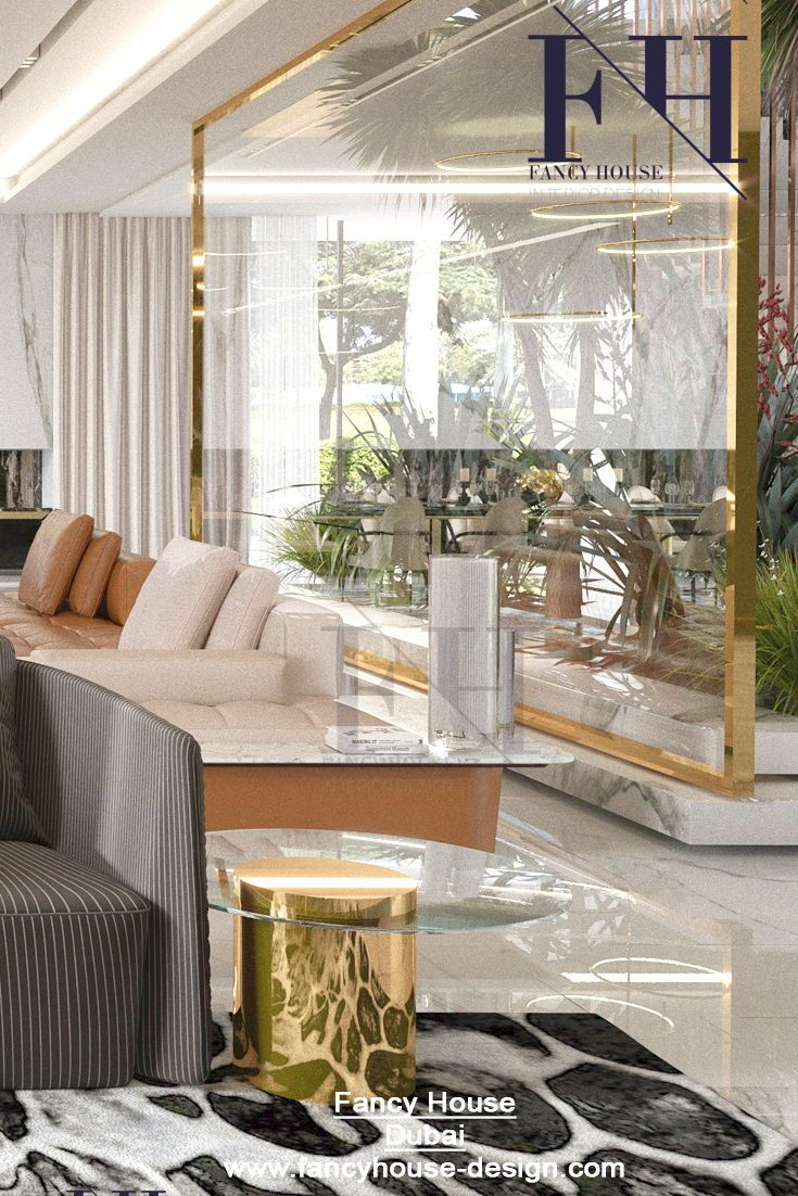 Beautiful interior décor for a home in white & gold colors