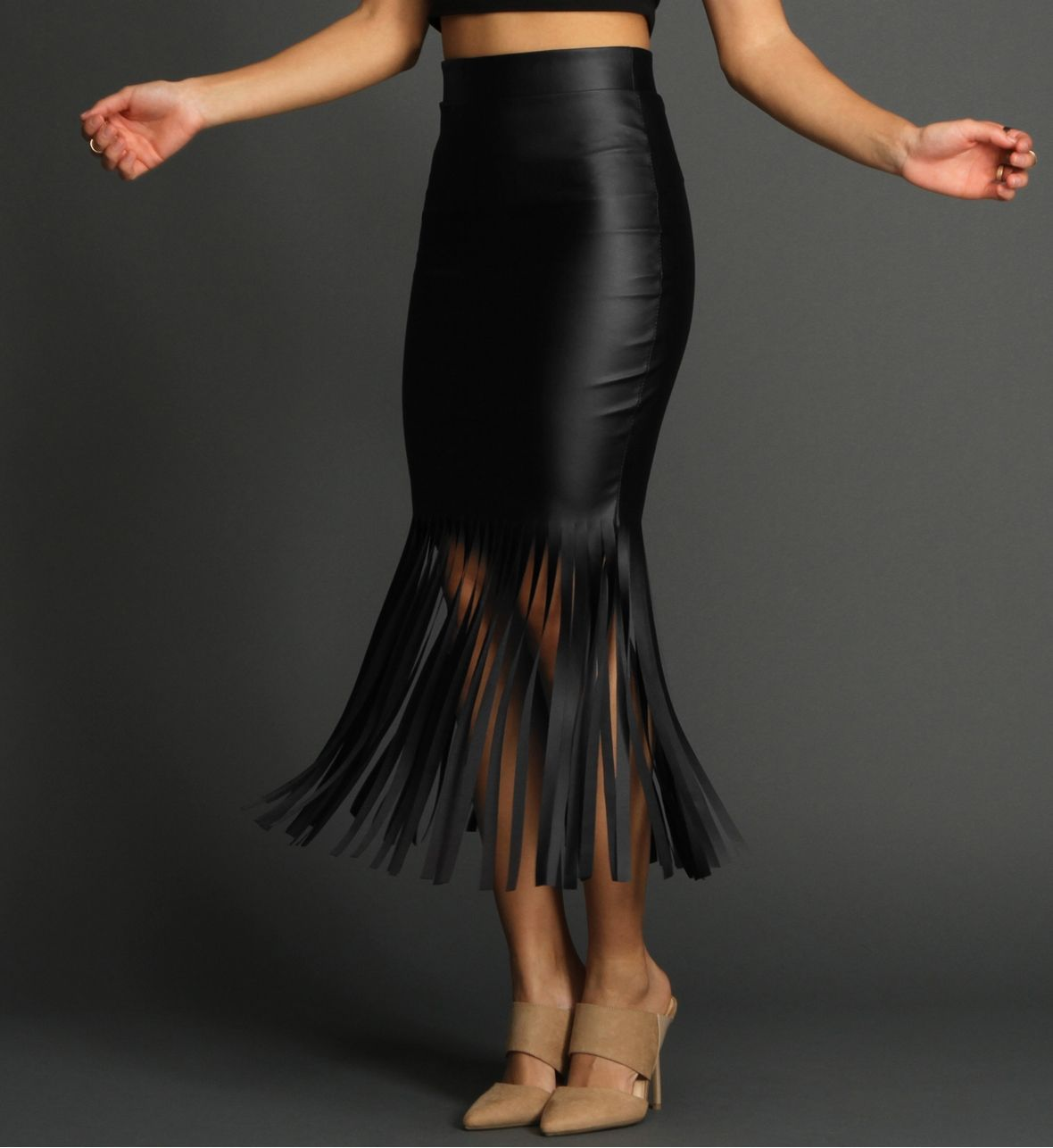 Black Faux Leather Mermaid Fringe Skirt | wish lists | Pinterest ...