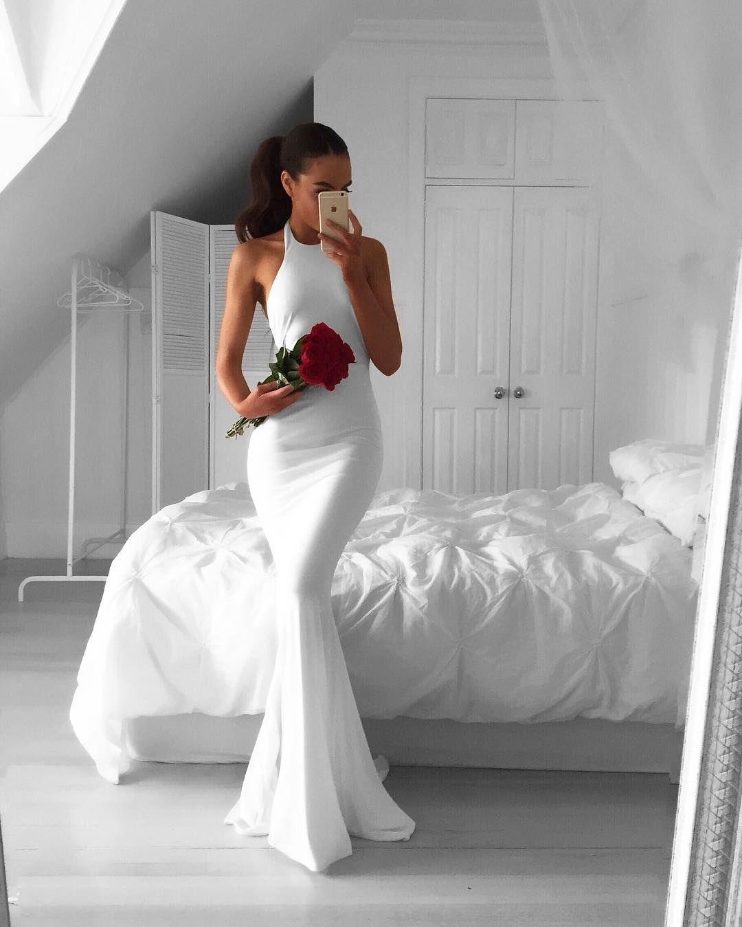 Prom dressesevening dresswhite prom dresslong mermaid dresswhite