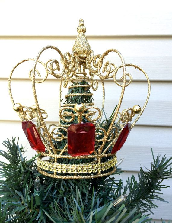 Gold Crown Christmas Tree Topper Glittery By Refeatheryournest