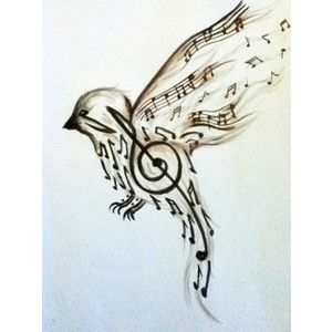 Beautiful bird tattoo with music notes. Tattoos and Piercings ...