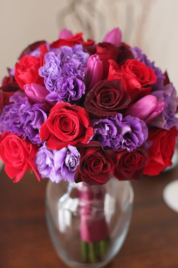 Red Roses Mini Callas Tulips Purple Stock And Seeded Eucalyptus This Would Also Look Nice Using An Eiffel Tower Vase