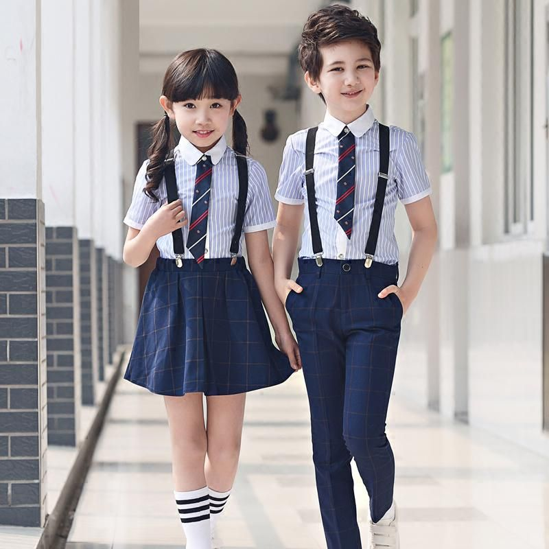 Kids school boys girls Clothing sets children formal striped shirt+plaid  pants trousers student ceremony clothes party costume | Girls clothing sets,  Girl outfits, Kids outfits