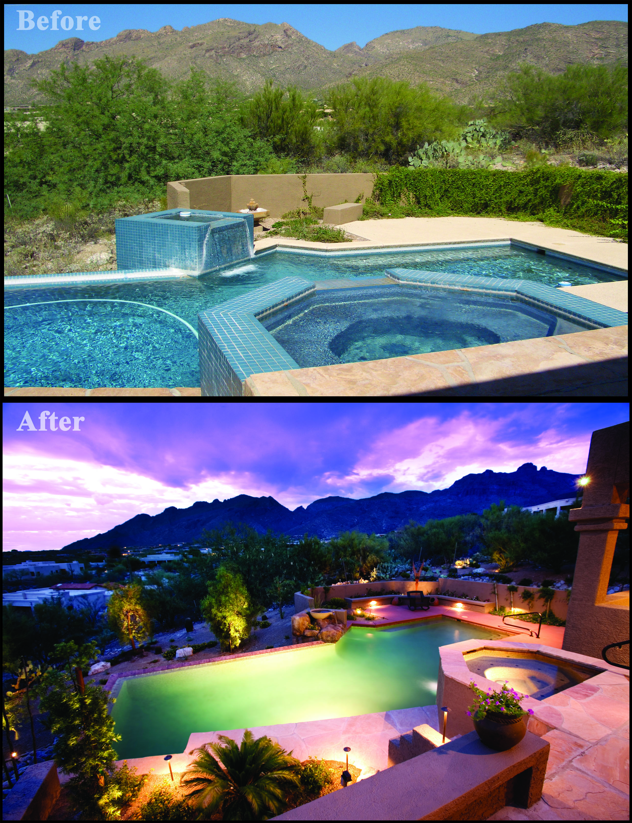 Before and after pool and spa renovation by Patio Pools and Spas ...