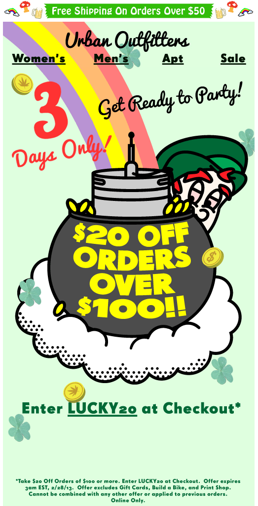 20 Off 100 Online At Urban Outfitters Via Promo Code Lucky20 Coupon Apps Email Newsletter Design Urban Outfitters Women