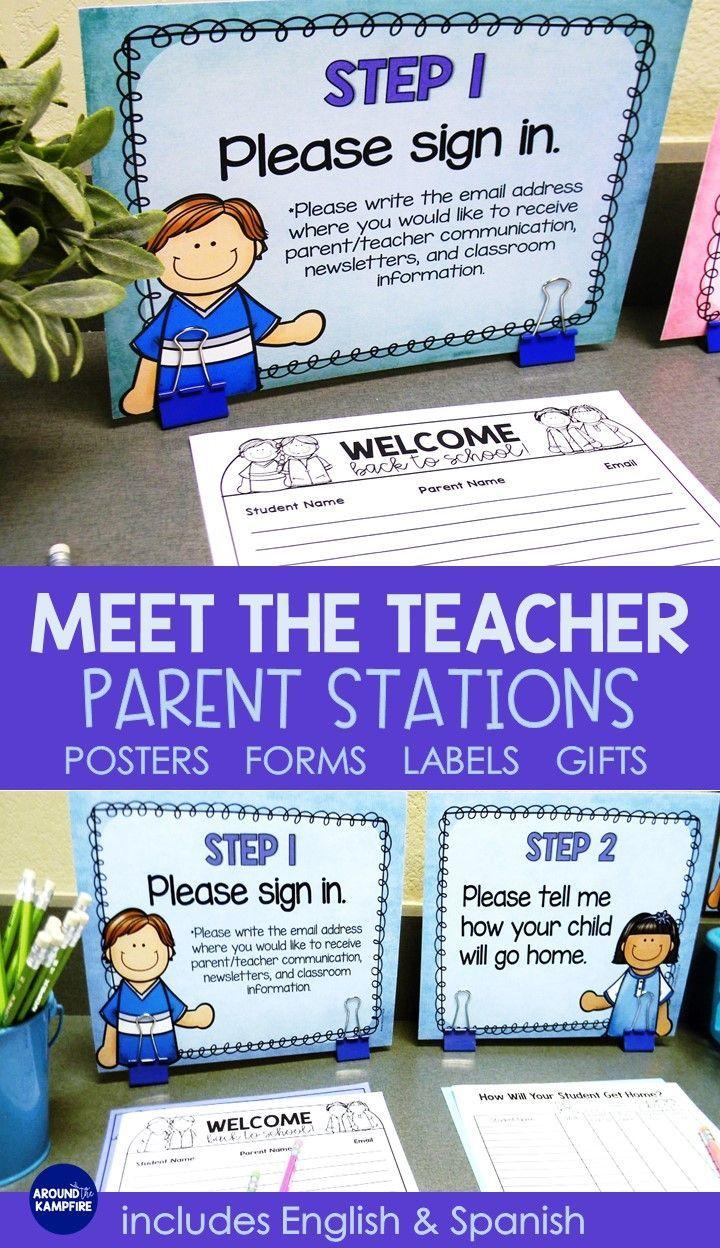 Meet the Teacher Back to School Night Parent Forms Stations Labels BLUE #meettheteachernight