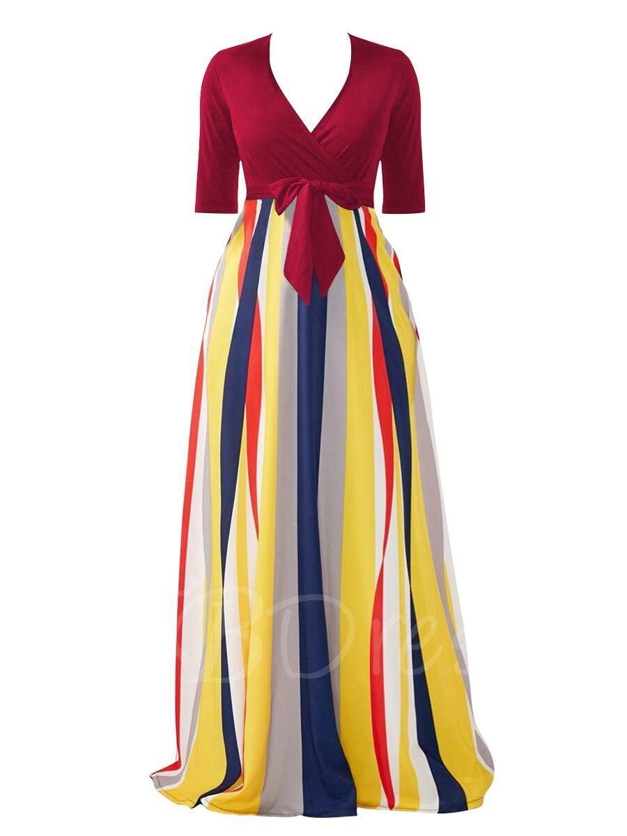 f2321f9e0a3 Tbdress.com offers high quality Half Sleeve Striped V Neck Women s Maxi  Dress Maxi Dresses unit price of   24.99.