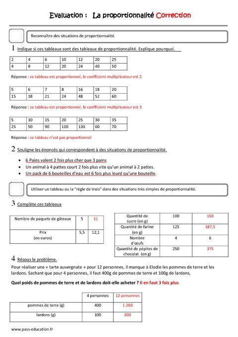 Proportionnalité - Cm1 - Evaluation | Proportionnalité cm2 ...
