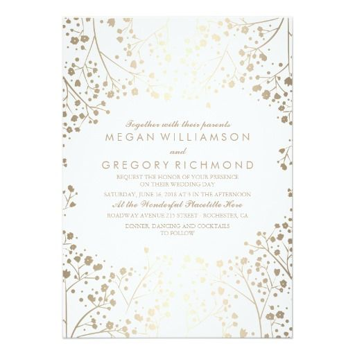 Gold And White Baby S Breath Floral Wedding Invitation Zazzle Com Floral Wedding Invitations Gold Wedding Invitations Vintage Wedding Invitations