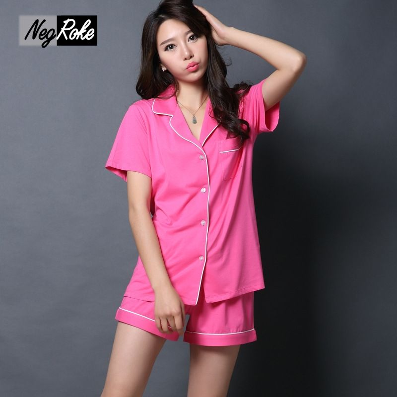 96bdfd597d  Free Shipping  Buy Best New Summer 100% cotton short-sleeved shorts women  pajamas sets sexy Quality simple sleep lounge sleepwear for women pyjamas  Online ...