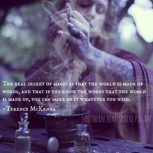 The real secret of magic is that the world is made of words, and that if you know the words tht the world is made of, you can make of it whatever you wish. - Terence McKenna