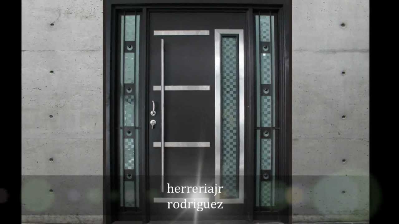 puertas modernas exteriores hierro madera y crital