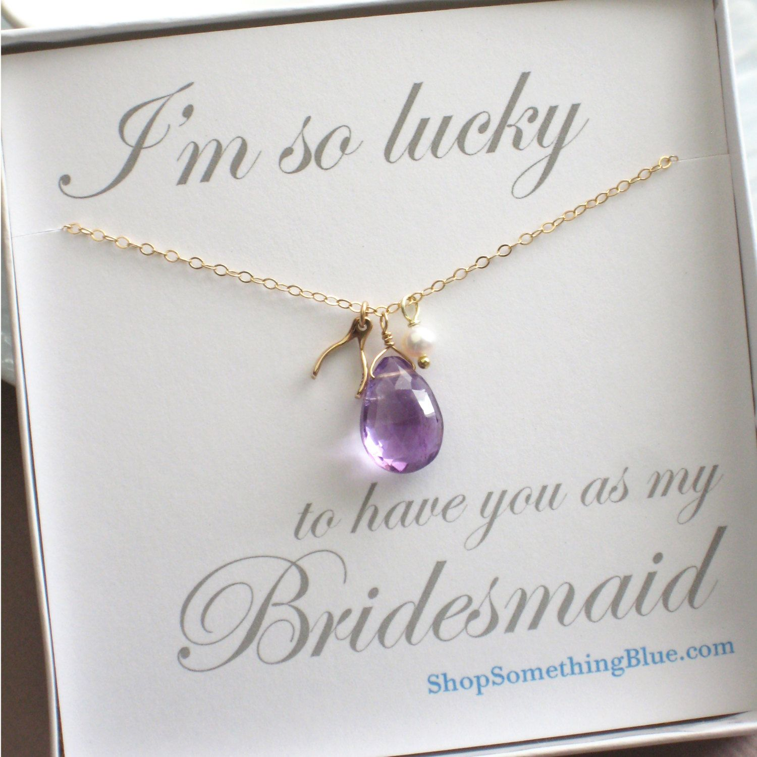 Wedding Party Gifts: Amethyst & Wishbone Necklace, With White Pearl, Purple