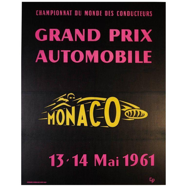 Large Original Vintage Car Racing Sport Event Poster Monaco Grand Prix 1961 Monaco Grand Prix Posters Grand Prix Posters Monaco Grand Prix