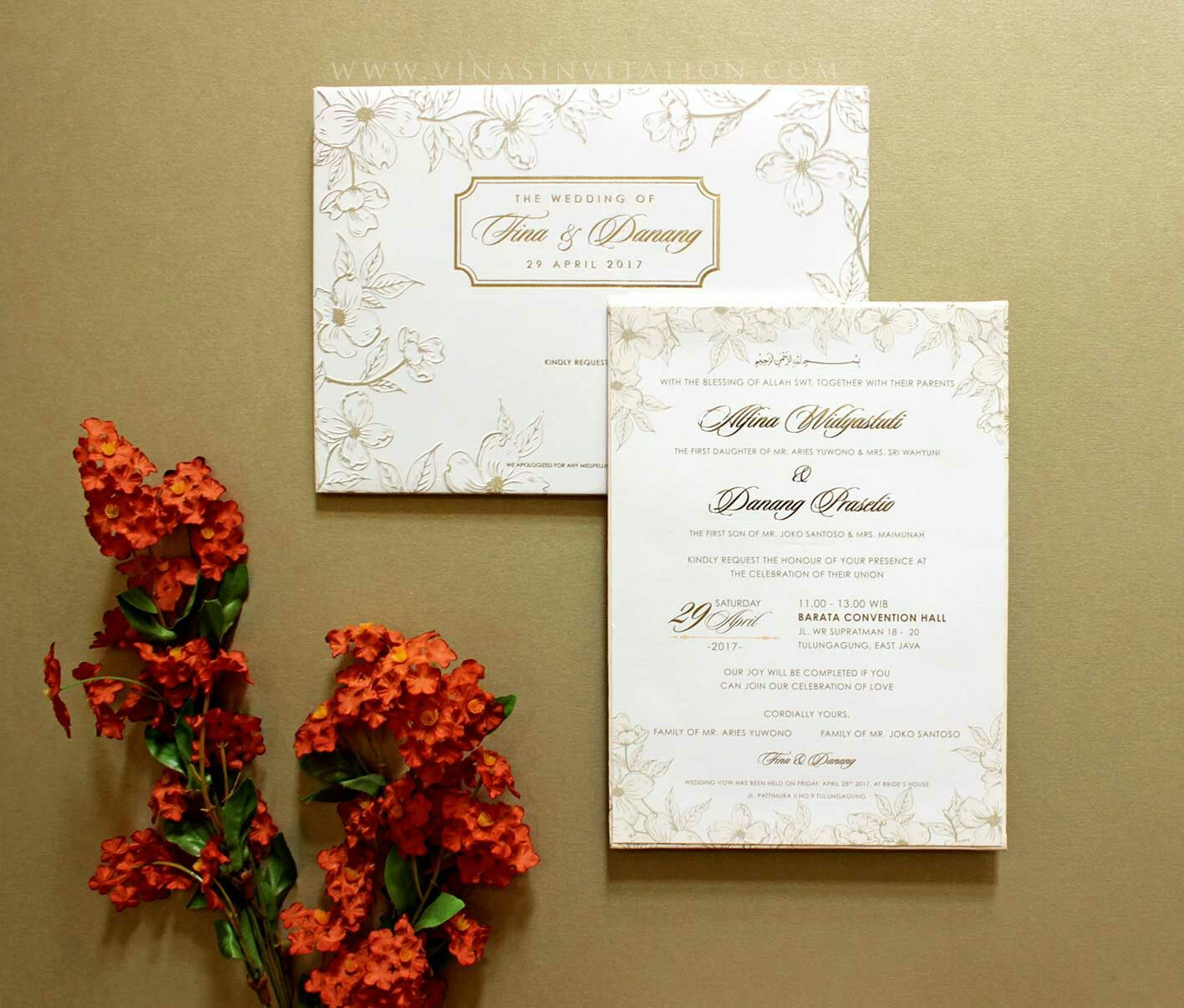 Vinas invitation. Flower theme. Flower gold. Indonesian wedding ...