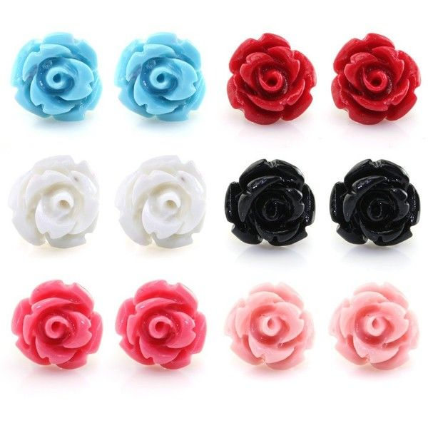 Handcrafted Resin Color Simulated Coral Rose Flower Earring Studs Hypoallergenic Stainless S Rose Stud Earrings Flower Earrings Studs Statement Earrings Studs