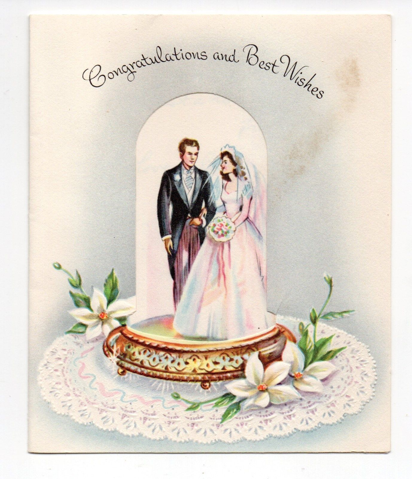 Vintage Sunshine Wedding Greeting Card Bride Groom