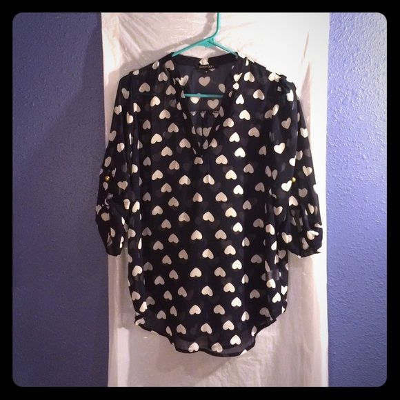 Cute hearts blouse Navy blouse with white hearts. Needs a cami underneath. Worn once. EUC. Paper Moon Tops Blouses