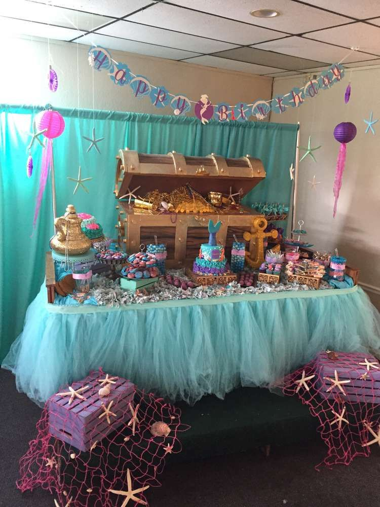 Undersea birthday party ideas dessert table birthdays Table decoration ideas for parties