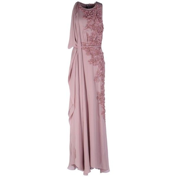 Elie Saab Long Dress (€4.805) ❤ liked on Polyvore featuring dresses, dove grey, elie saab dresses, zipper dress, no sleeve dress, long dresses and elie saab