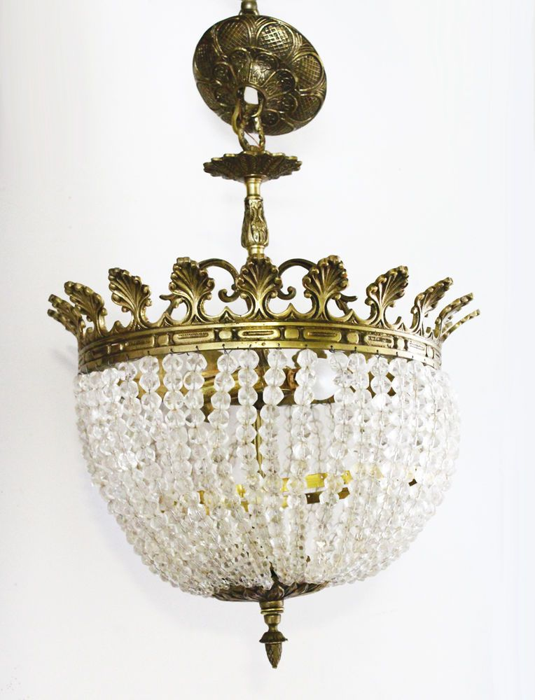 Rare French Empire Antique Rock Crystal Beaded Basket Chandelier Gorgeous