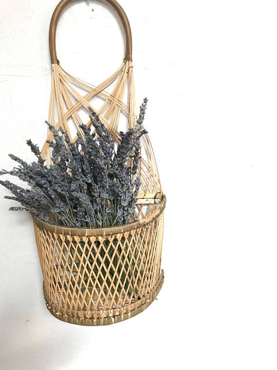 Vintage Woven Rattan Wicker Wall Hanging Basket Planter With Wall Hanging Hanging Wall Decor Wicker