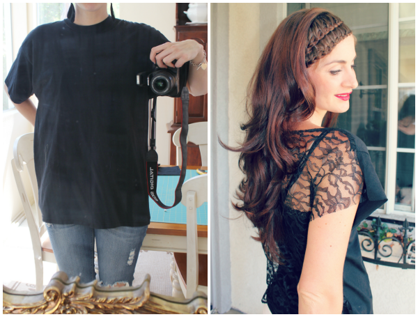 awesome upcycle!  Lace shirt refashion before and after