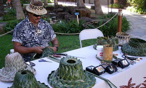 Hawaiian crafts - Hats made of banana leaves