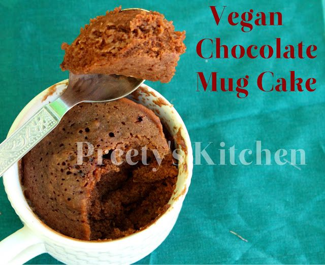 One Minute Eggless Chocolate Mug Cake Vegan Single Serving Dessert Microwave Recipe