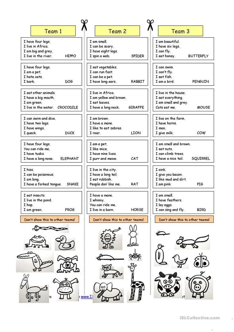 Animal Riddles 1 (Easy) worksheet Free ESL printable