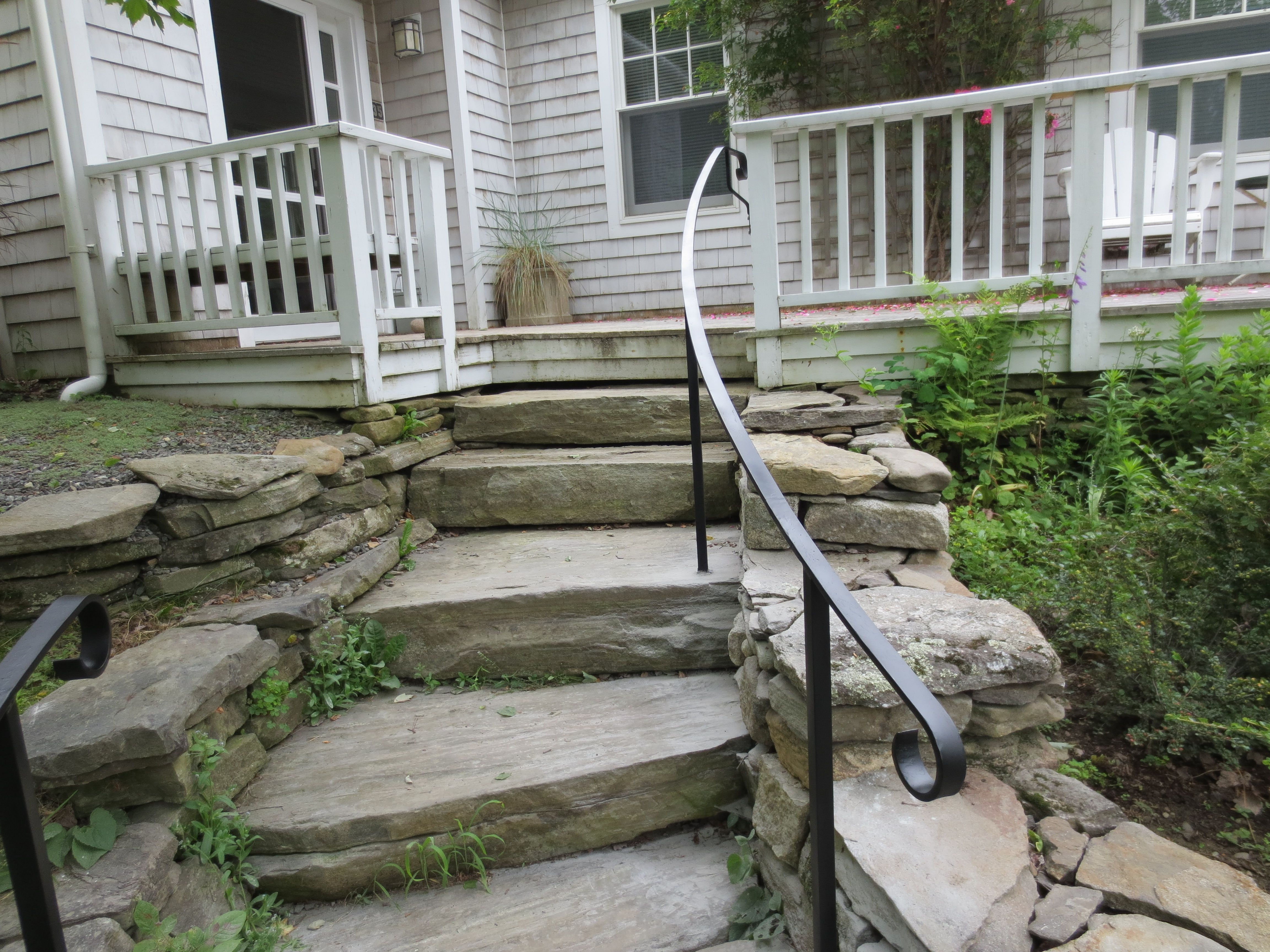 Wrought Iron Railing On Natural Stone Steps Outdoor | Iron Railings For Steps