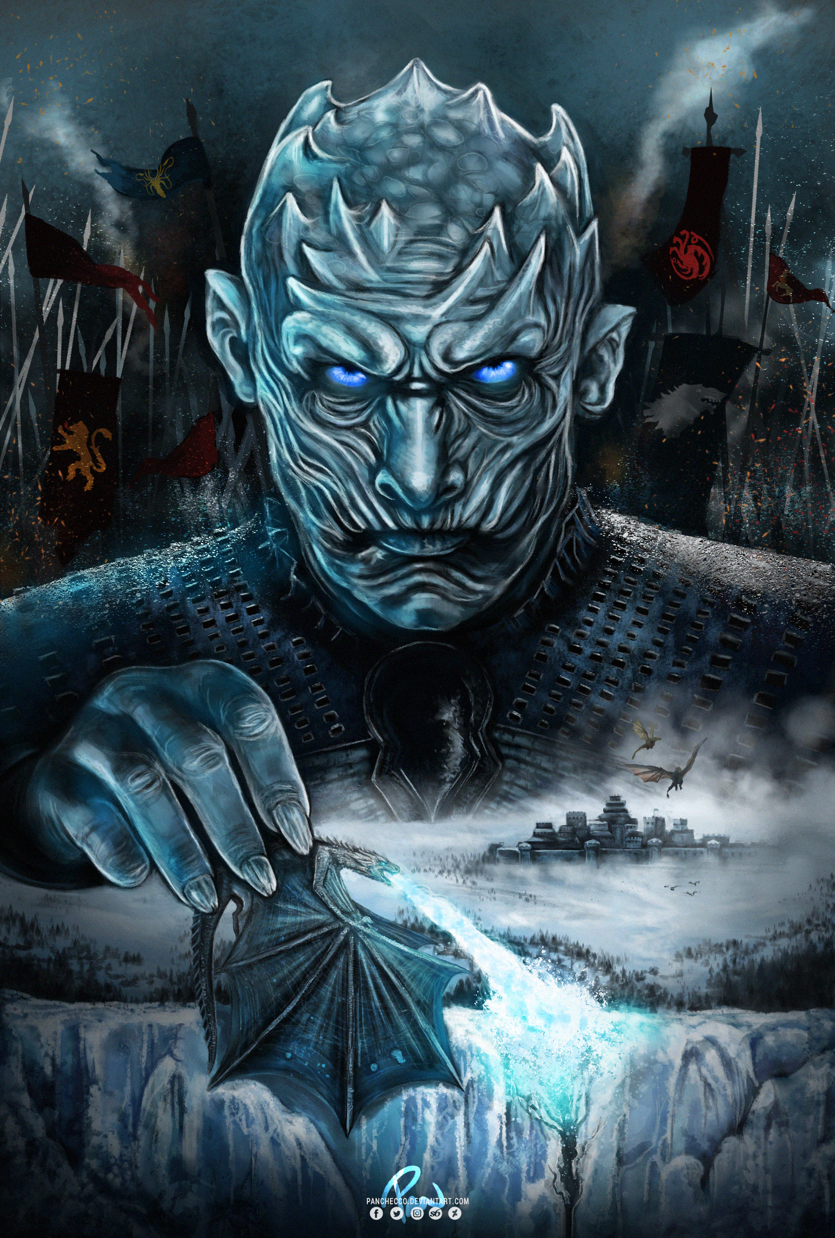 Spoilers Night King Fan Art By Me Music Indieartist Chicago Night King Seasons Posters Game Of Thrones Art