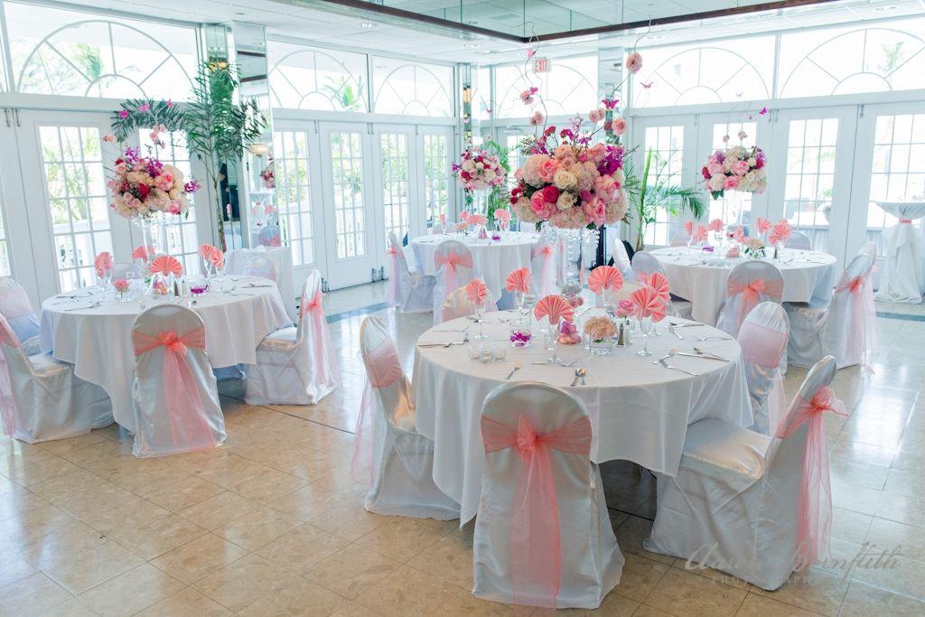 Tall Pink Rose wedding centerpieces. Grand Plaza Resort