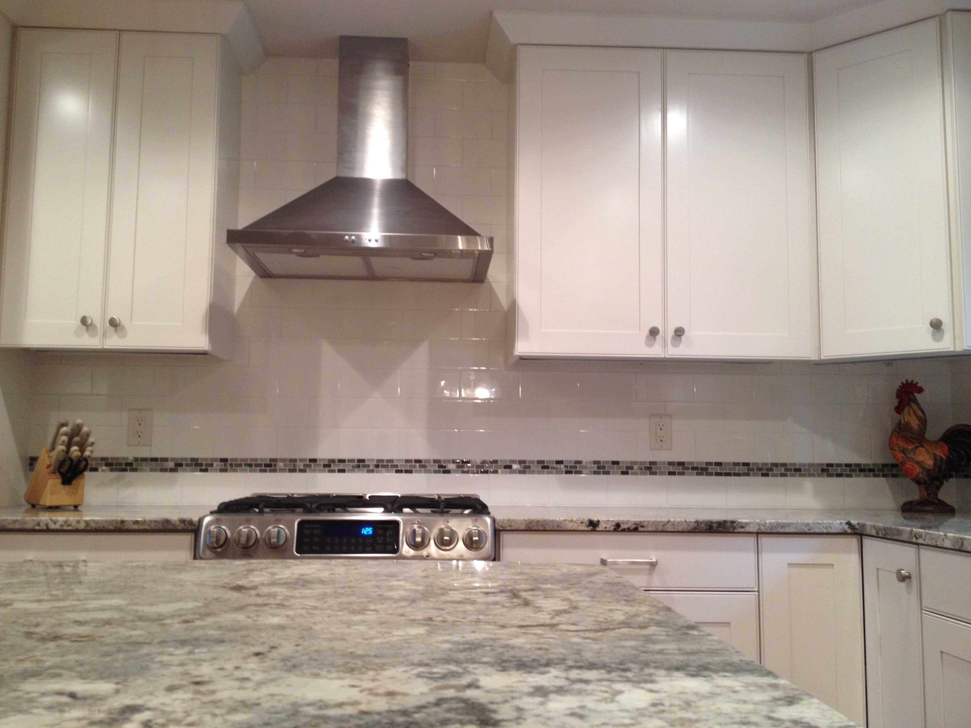 classic white ceramic subway tile backsplash with mosaic insert in rh pinterest com