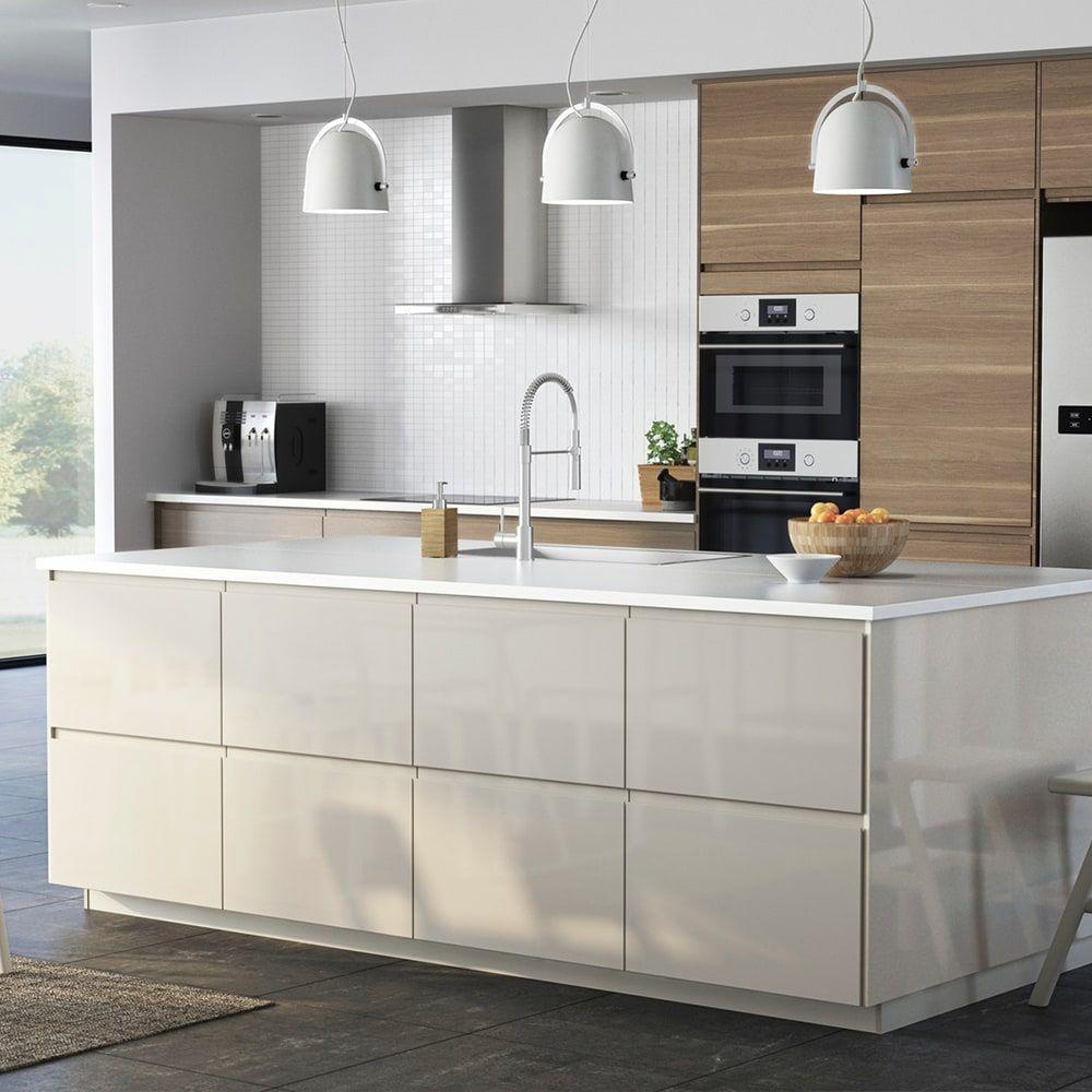Cuisines Metod Finition Voxtorp Beige Brillant Ikea Meuble Cuisine Cuisine Ikea Cuisine Moderne