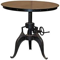 Eisen Large Adjustable Height Black Crank Table