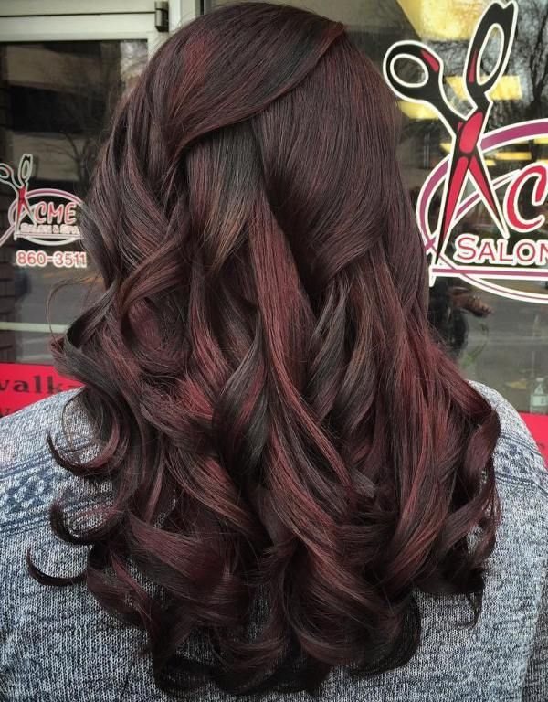 Black Hair With Subtle Red Highlights Cherry Hair Colors Cherry Hair Black Hair With Highlights