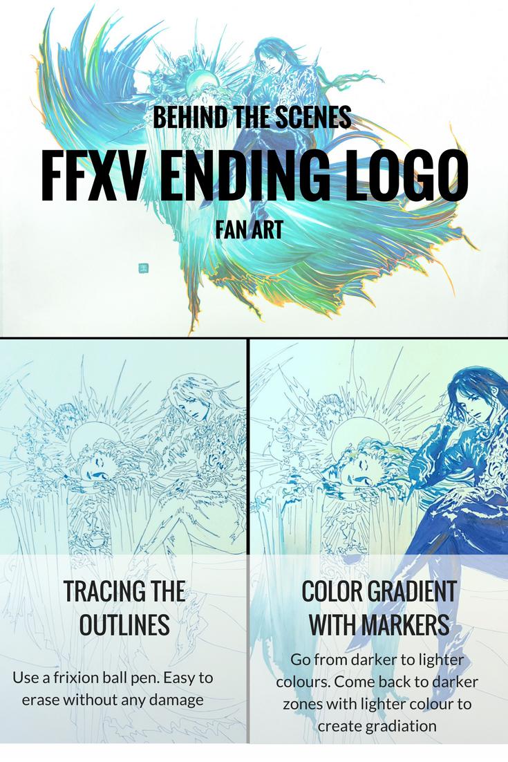 Final Fantasy Xv Ending Logo With Lunafreya And Noctis Art Step By Step Final Fantasy Xv Light In The Dark Final Fantasy