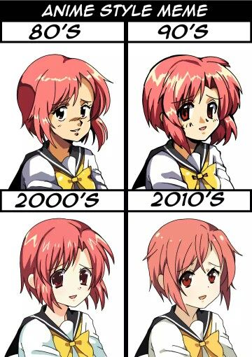 General Anime Styles Through The Decades Anime Shows Anime Style Anime Funny