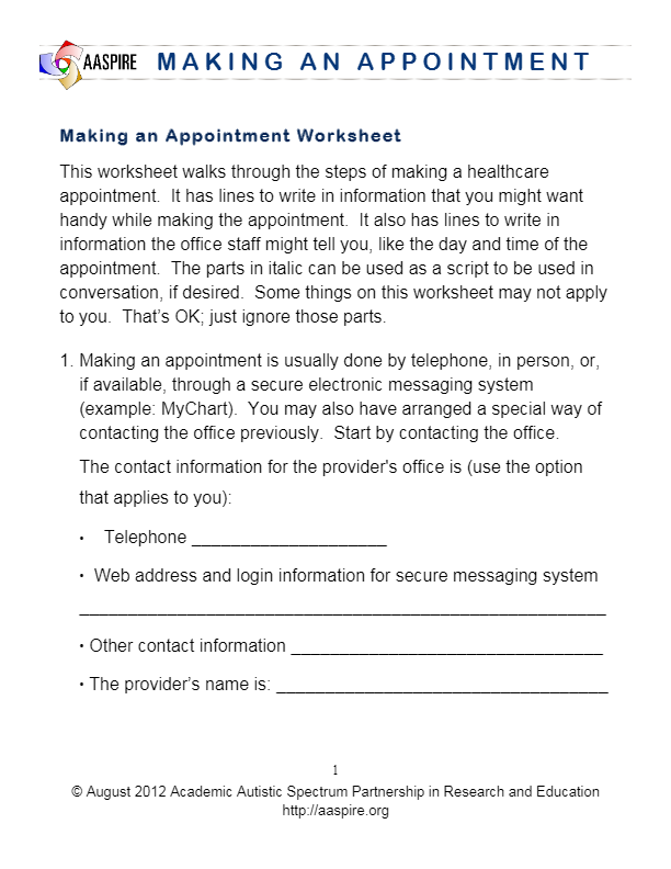 Printable Worksheets special education life skills worksheets : Worksheet for making an appointment at a doctor's or other medical ...