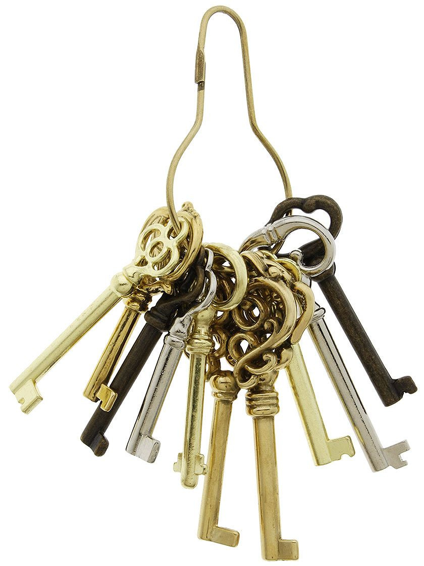 Keys for Antique Furniture. Ring of 10 Unique Barrel Keys For Cabinet & Furniture  Locks - Ring Of 10 Unique Barrel Keys For Cabinet & Furniture Locks