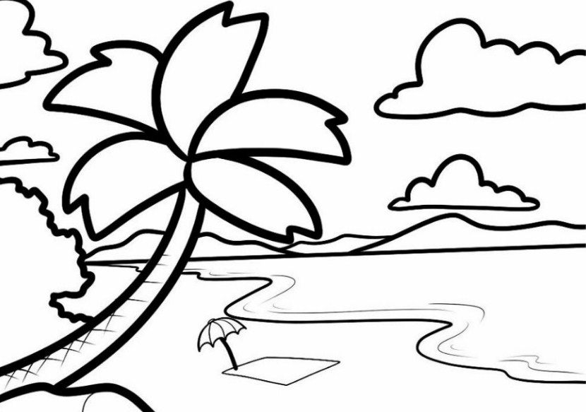 Contoh Gambar Sketsa Pantai Terindah Art Drawings For Kids