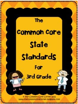 Here are the 3rd Grade Common Core State Standards that are easy to read and a quick reference guide! This allows for the Core Standards to be inse...