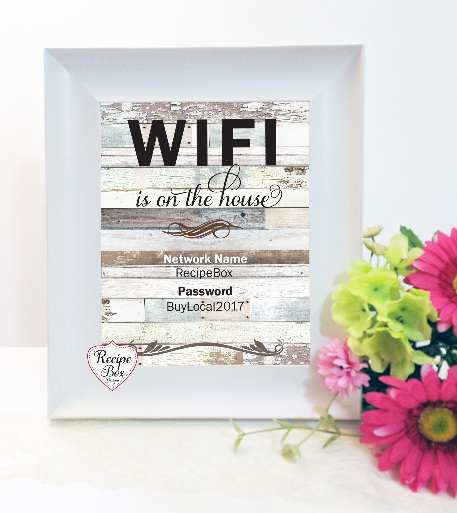 Wifi password sign, Instant Printable Download www.etsy
