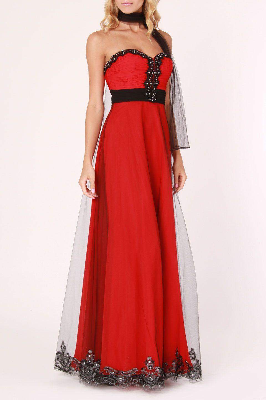 Colors dress mesh u chiffon dress in red and black prom dresses