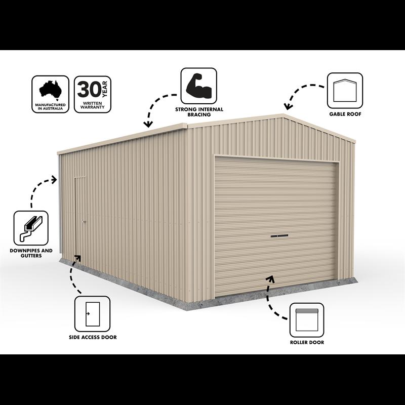 Absco Sheds 3 7 X 6 0 X 2 98m Single Roller Door Garage Zincalume Roller Doors Metal Roof Outdoor Storage Box