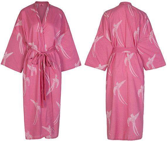 100 % Cotton Kimono Dressing Gown - Handprinted Breathable Fabric ...